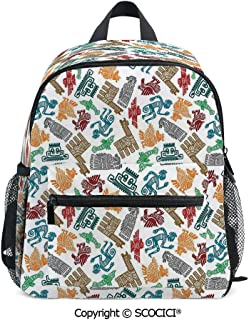SCOCICI Bookbags for Boys & Girls Mayan and Aztec with Padded Back Straps