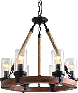 Anmytek C0008 Round Wooden Chandelier with Seeded Glass Shade Rope and Metal Pendant Six Decorative Lighting Fixture Retro Rustic Antique Ceiling Lamp, Brown