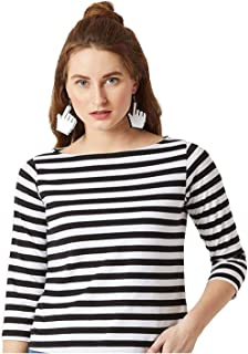ALIYAA Women Black and White Striped Top for Women and Girls (Pack of 1)