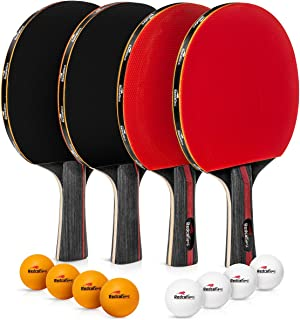 Ping Pong Paddle Set of 4 Rackets with 8 Balls - This Table Tennis Paddles Set with Accessories and Portable Carry case is Perfect for Professional Play and Amateurs - for Indoor or Outdoor use