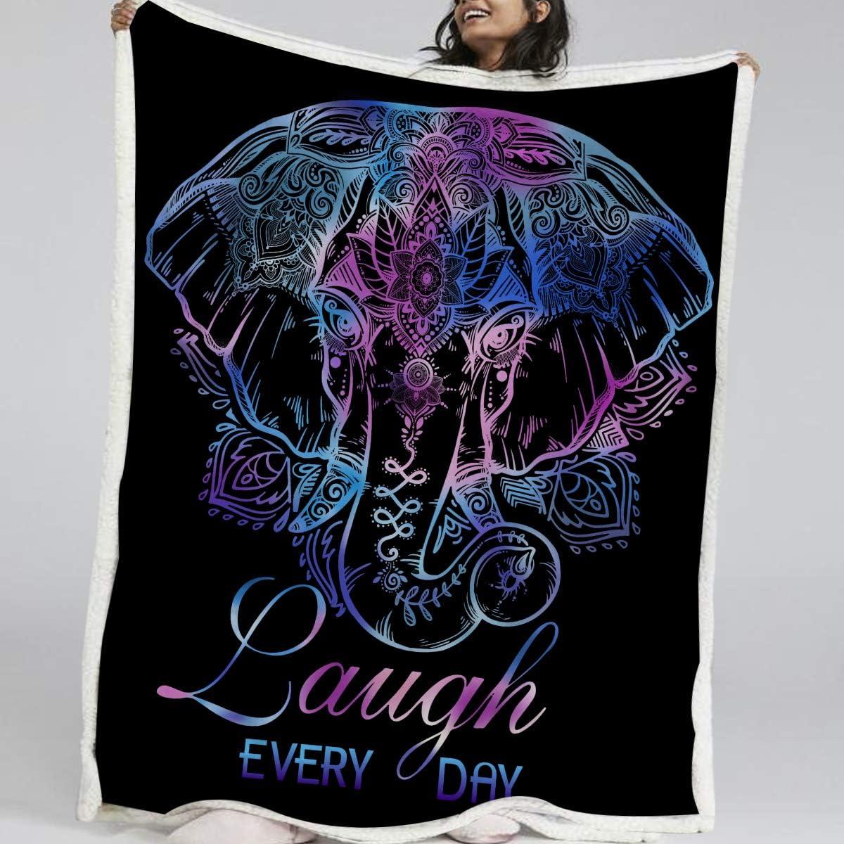 Blessliving Yoga Elephant mart Fleece Ranking TOP1 Throw Lotus Flower Blanket Neon