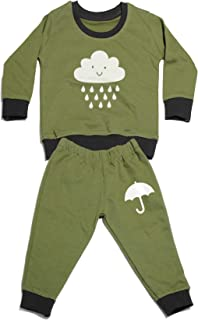AmericanElm Olive Casual Printed Cotton Tracksuit for Baby's, Unisex Top and Bottom Sets (SK-PTRKST-OC2WHT_3-6 M_Olive)