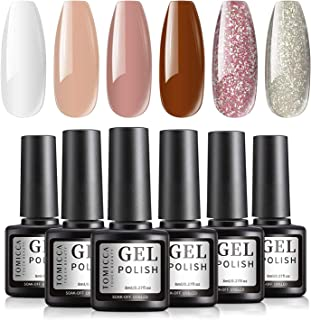 TOMICCA Nail Art UV LED Gel Nail Polish Set, Long-lasting 6 Colors Spring Summer Glitter Pink Series Collection Holiday Se...