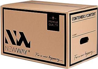 Pack 15 cajas de cartón para mudanza y almacenaje 430x300x250m con asas fabricadas en España con cartón ecológico altamente resistente doble capa CALIDAD PREMIUM: Amazon.es: Oficina y papelería