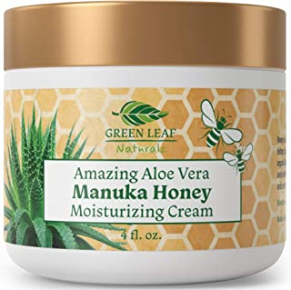 Amazing Aloe Vera Manuka Honey Moisturizing Cream for Face and Body - Gentle, Effective and Soothing for All Skin Types and Conditions - for Women, Men, Kids, Babies - by Green Leaf Naturals - 4 oz