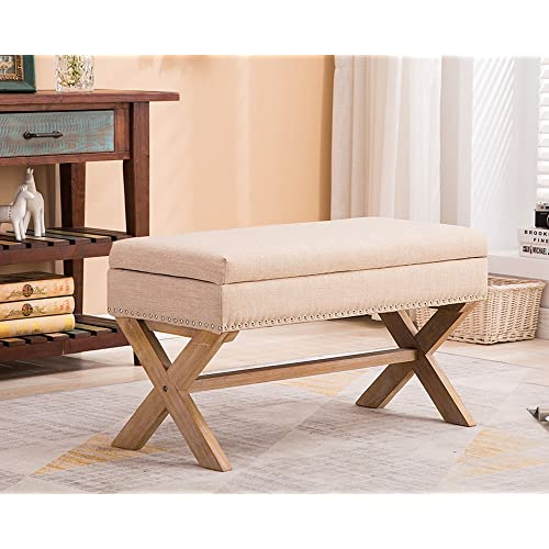 Upholstered Wooden Storage Benches Amazon Com
