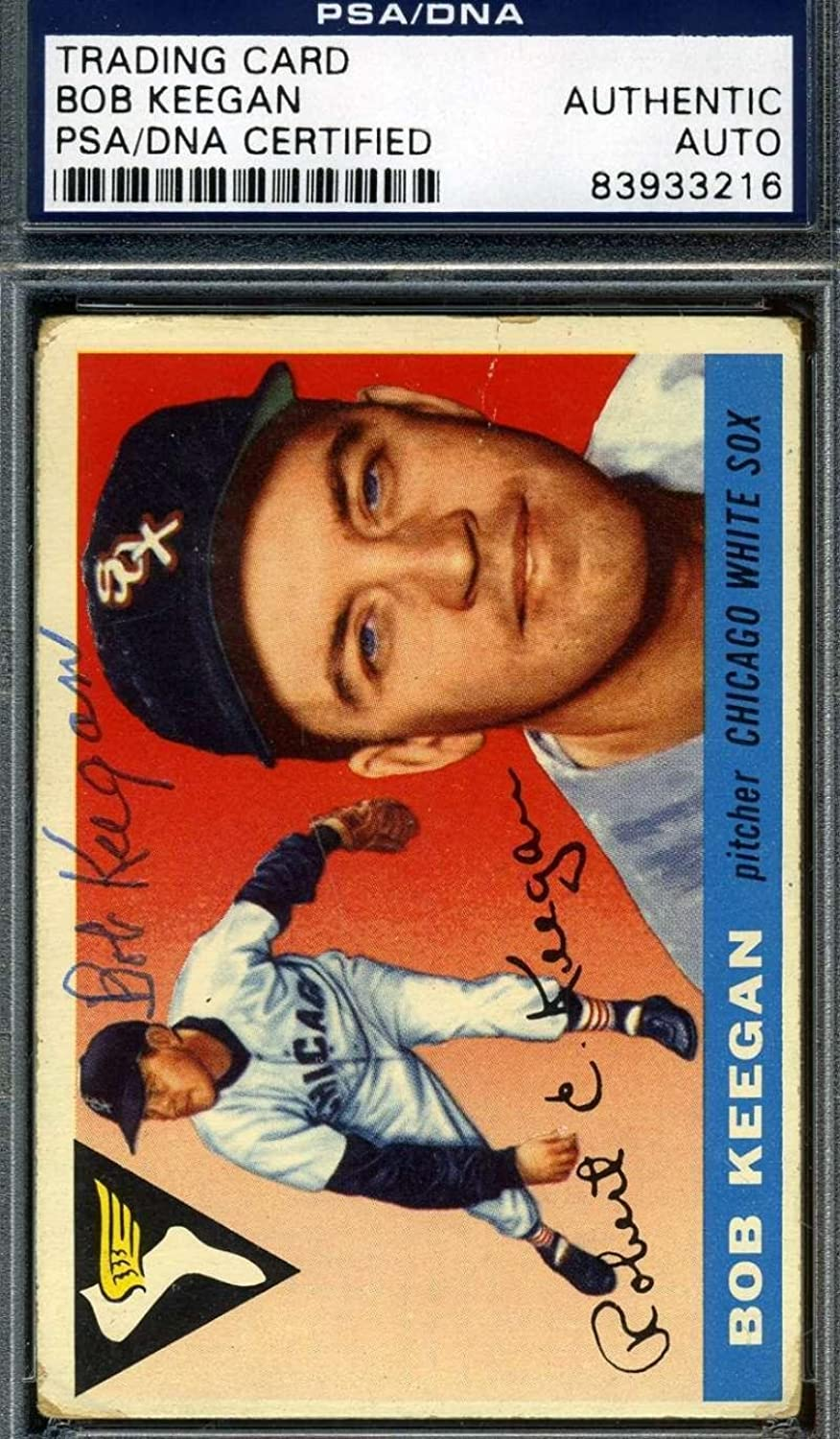 Bob Keegan 1955 Topps Hand Signed Original Hand Authentic Autograph  PSA DNA Certified  Baseball Slabbed Autographed Cards