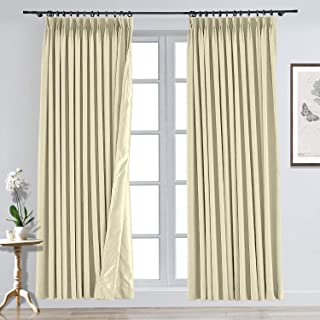CosyPages Pinch Pleated Luxury Linen Polyester Curtain Unlined Blackout Curtains for Traverse Rod and Track 59W x 96L(1 Panel) Beige