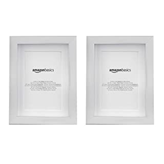 AmazonBasics Photo Frame with Mat | 13 x 18 cm matted to 10 by 15 cm, Nickel, 2-Pack