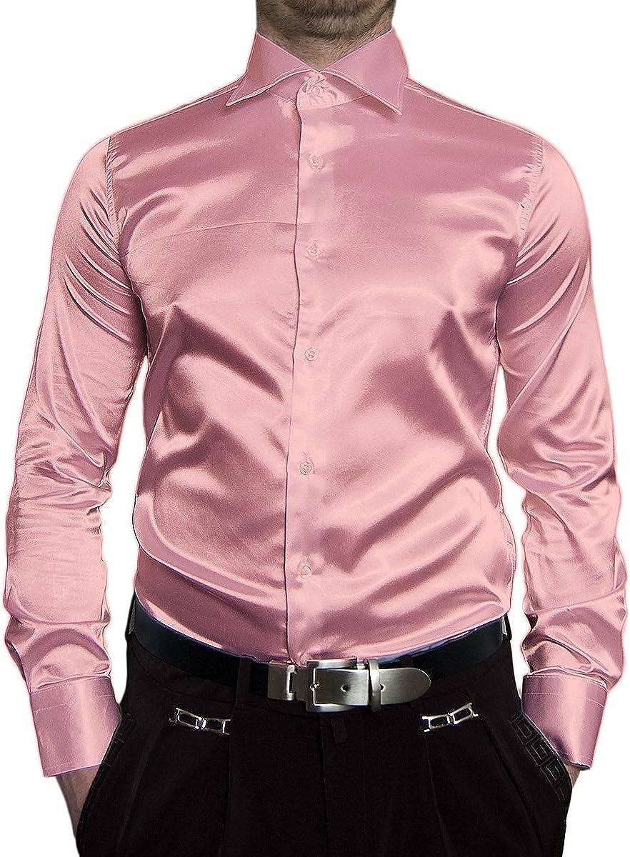 Camisa entallada de manga larga para hombre, satinada, color negro, blanco, azul, rosa, gris, dorado, amarillo, plateado, turquesa, beige, marrón, ...