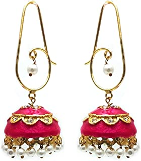 Moonstruck Traditional Indian Golden Minakari Jhumka Earrings With Stones And Pearls for Women (Pink)