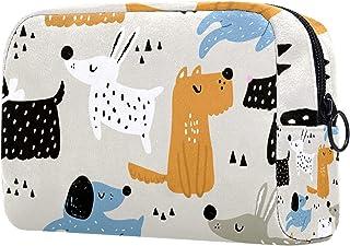 حقيبة مستحضرات التجميل للأطفال مع الكلاب مرسومة باليد للنساء، حقائب مكياج فسيحة رائعة حقيبة سفر مضادة للماء