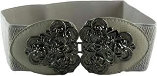CHOCOLATE PICKLE New Ladies Vintage Floral Interlock Buckle Wide Stretch Elasticated Belts One Size