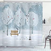 Ambesonne Farm House Decor Shower Curtain Set, Snow Falling in The Park On A Cold Winter Day Birds Lanterns Chirstmas Seas...