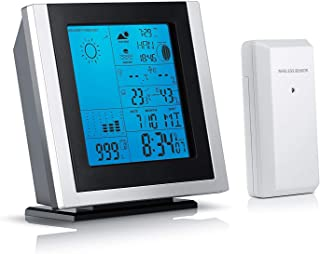 Brandson - Estación meteorológica con Sensor Externo 301519 | Temperatura/higrómetro/Alarma Interior y Exterior, etc. Iluminación de la Pantalla LED en Azul