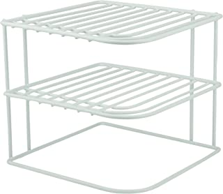 DecorRack 1 Countertop Corner Shelf Organizer, 3-Tier Heavy Duty Corner Rack, Counter and Cabinet Corner Helper Shelf, Free Standing Rack for Kitchen Counter Pantry and Cupboards, White