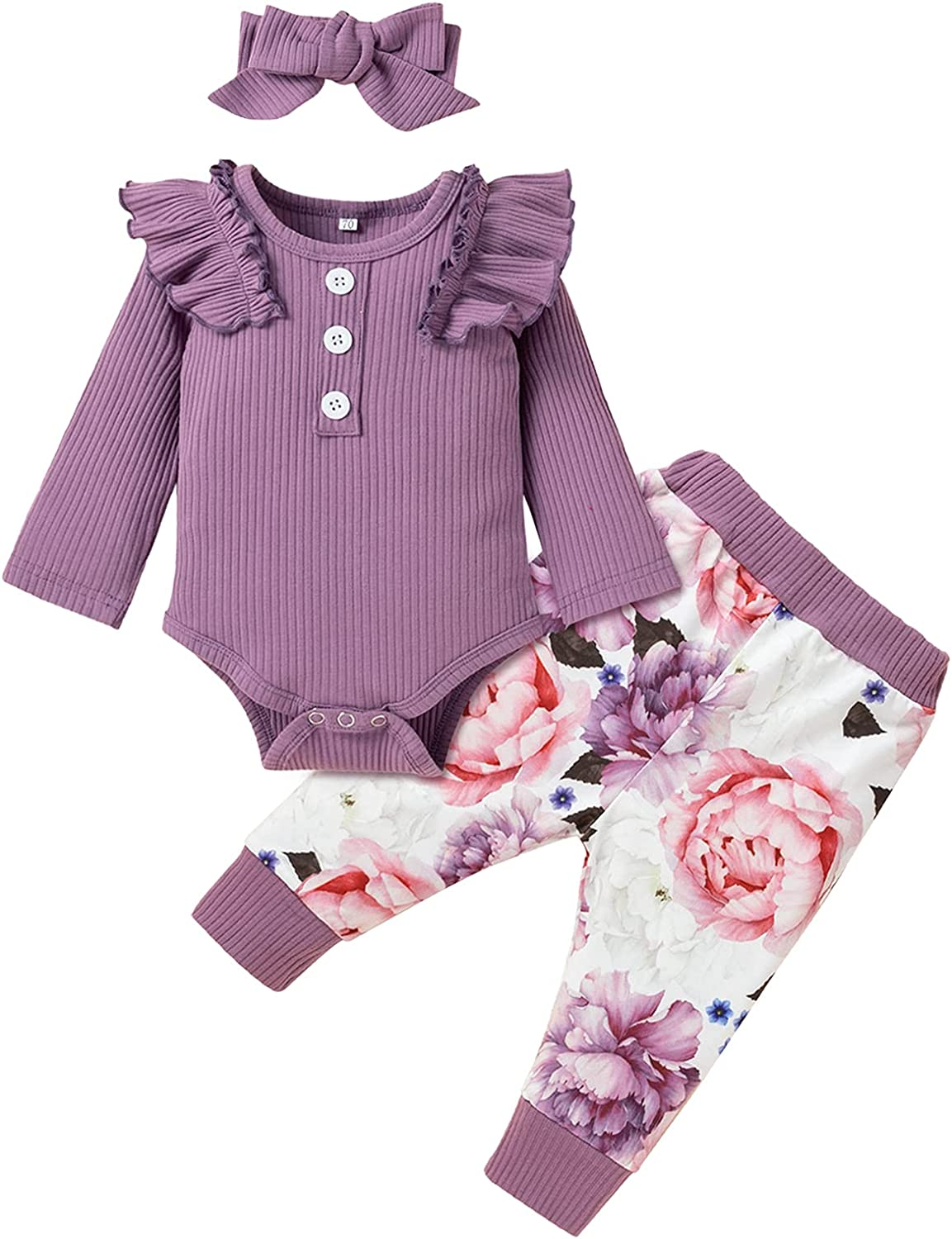 Baby Girl Clothes Infant Girl Pants Set Ruffle Long Sleeve Romper Floral Pants with Headband 3Pcs Set
