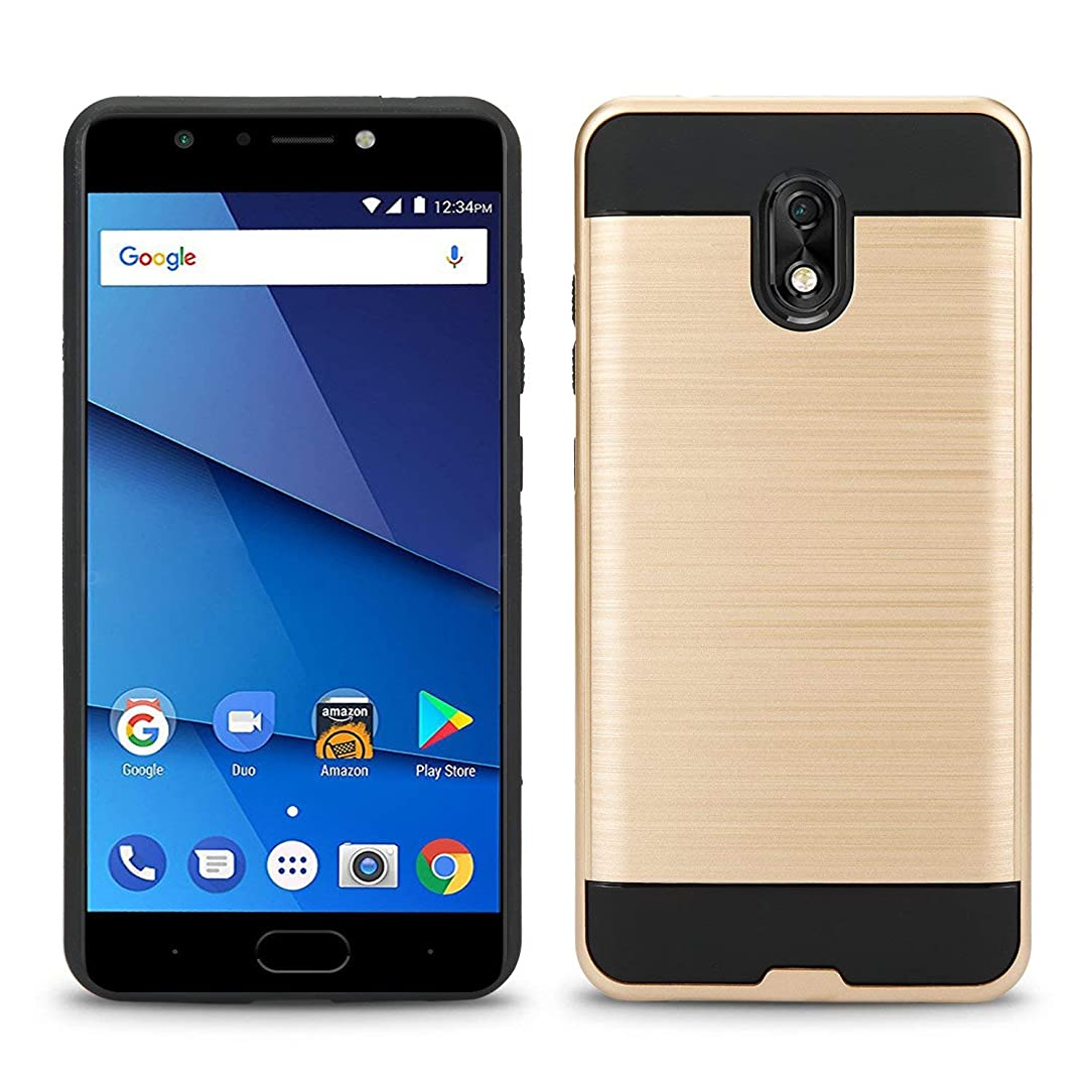 BLU LIFE ONE X3 Case,Biaotai[Shock Absorption] Drop Protection Hybrid Dual Layer Armor Protective Case Cover for BLU LIFE ONE X3 (Gold)