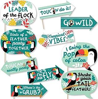 Big Dot of Happiness Funny Calling All Tucans – Tropischer Vogel Babyparty oder Geburtstagsparty Photo Booth Requisiten Kit – 10 Stück