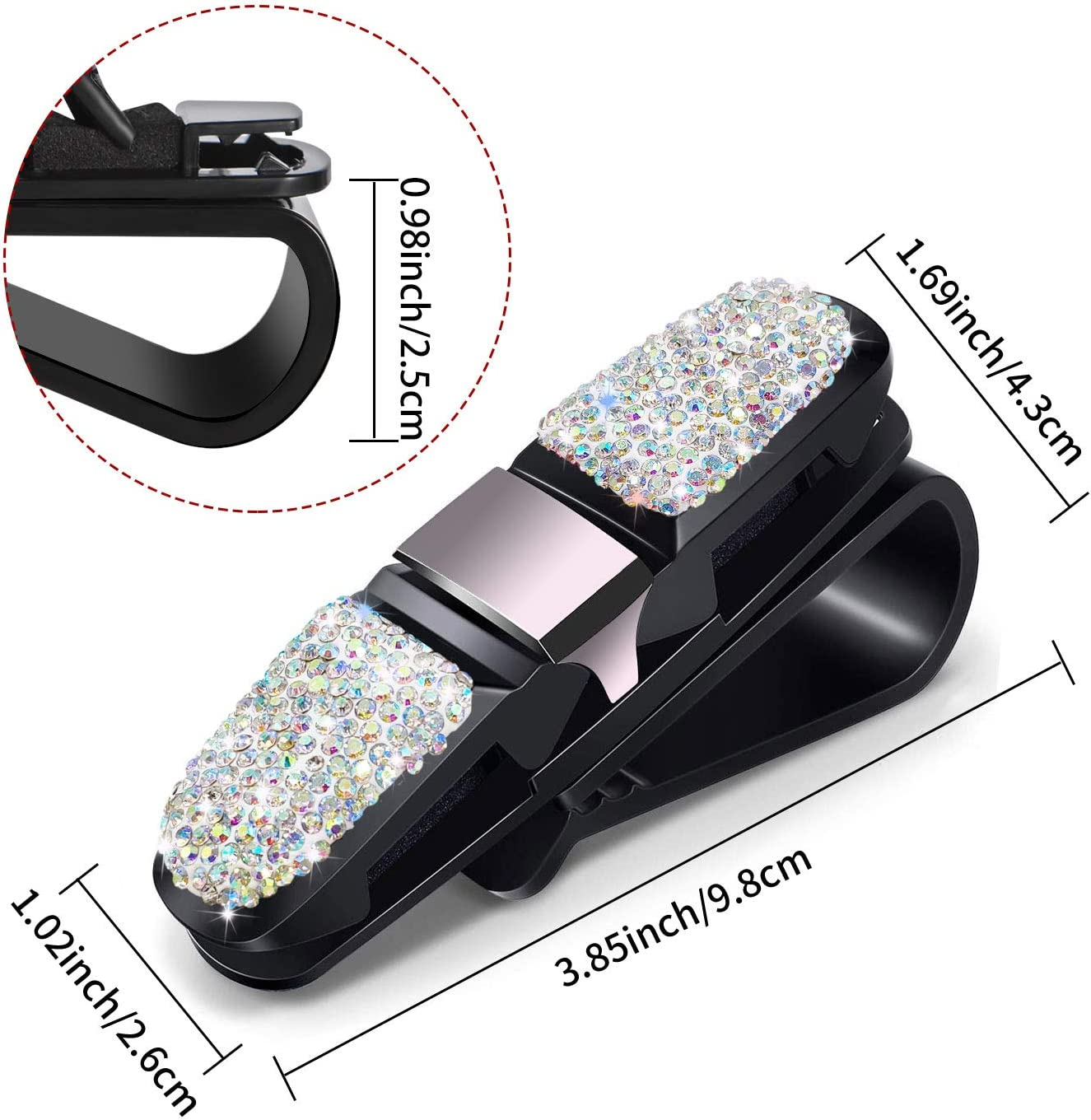 Bling Crystal Rhinestones Fashion Rotatable Car Eyeglasses Sunglasses Hanger Mount with Ticket Card Clip for Women Girls CHIMUYU Glasses Holders for Car Sun Visor Black