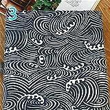 YM YOUMU Japanische Baumwolle Leinen Stoff Eule Ocean Wave
