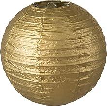 LIHAO Lampenkap rond papier lantaarn Golden Classic Bamboo Style geribbelde hanglamp lampenkap decoratie voor party tuin s...