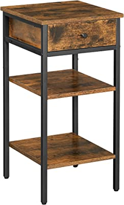 VASAGLE VINCYER Nightstand, End Table, Side Table, Tall Night Table with a Drawer and 2 Storage Shelves, Space Saving, Industrial, Rustic Brown and Black ULET502B01