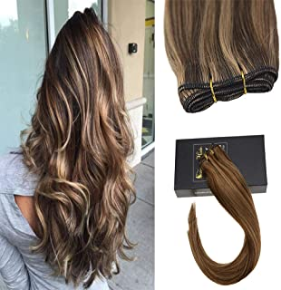 Sunny 14inch #4 Dark Brown with #27 Cramel Blonde Bundles Weave Hair Extensions Human Hair Straight Sew In Weft Hair Extensions Full Head One Bundle 100g