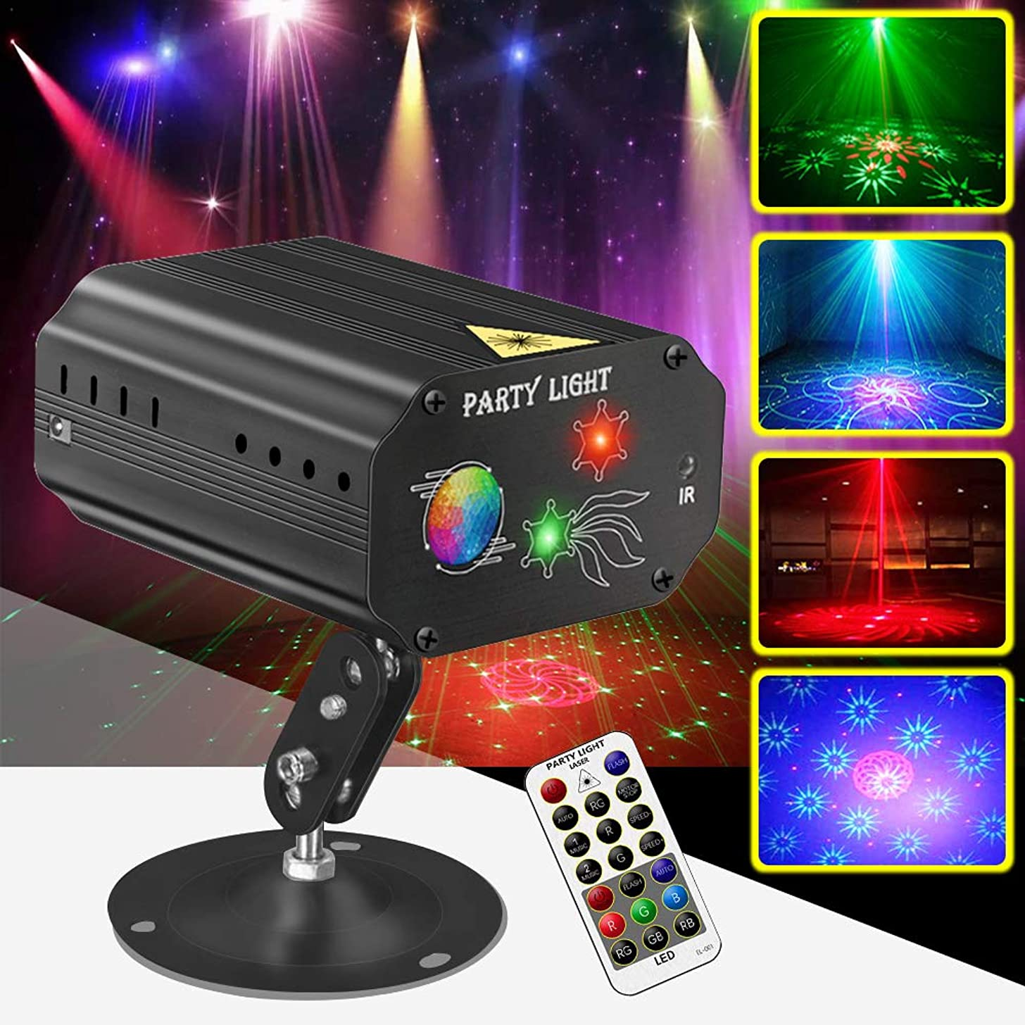 Party Lights Disco Ball Lights Strobe Dj Stage Light QinGers Sound Activated Multiple Patterns Projector with Remote Control for Parties Bar Birthday Wedding Holiday Event Live