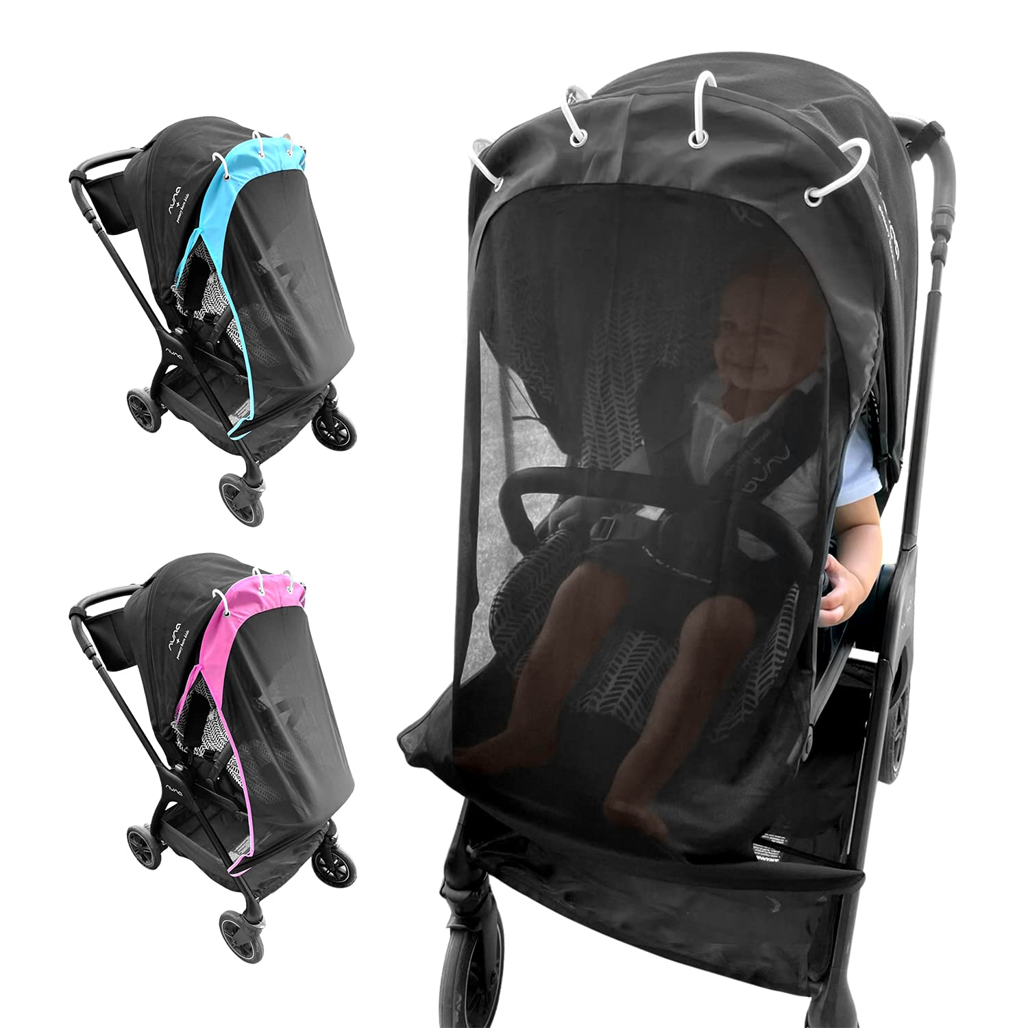 Sunshade for Stroller 30 SPF Stroller Cover Universal & Adjustable UV Sun Cover for Stroller to Protect Your Baby from Sun See Through Stroller Shade Canopy Net