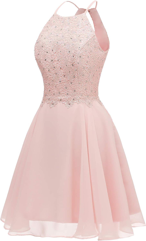 Women's Halter Open Back Beaded Lace Homecoming Dress Short Prom Dress
