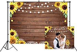7x5ft Sunflowers Wooden Lace Backdrop Wedding Sunflowers Photography Background Bridal Shower Happy Birthday Party Photo Banner