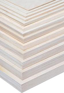 Alsino Craft houten platen om te knutselen, doe-het-zelf multiplex platen op maat te snijden, massief natuurkleur, onbehan...