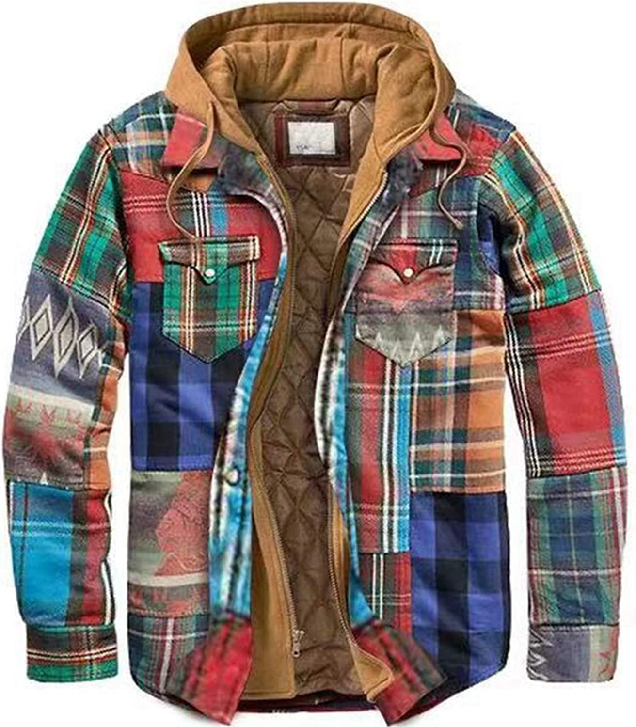 Mens Fashion Quilted Lined Flannel Shirt Jacket Hooded Casual Long Sleeve Coat