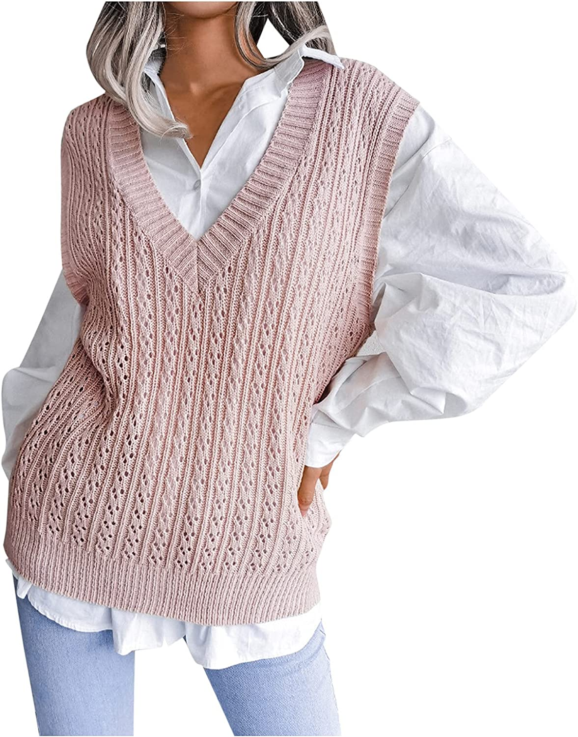 Women's Sweater Vest Oversized V Neck Sleeveless Sweaters Knitwear Soft Chunky Cable Knit Tunic Blouse Jumpers Tops