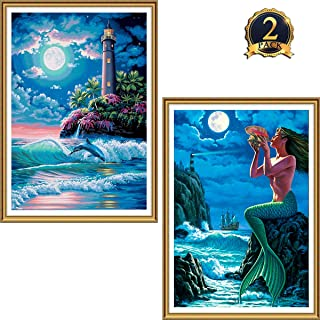 Seaside DIY Rhinestone Pasted Paint with Diamond Set for Arts Craft Decoration Yomiie 5D Diamond Painting by Number Kits Mermaid /& Lighthouse Full Drill for Adults Kids 12x16inch