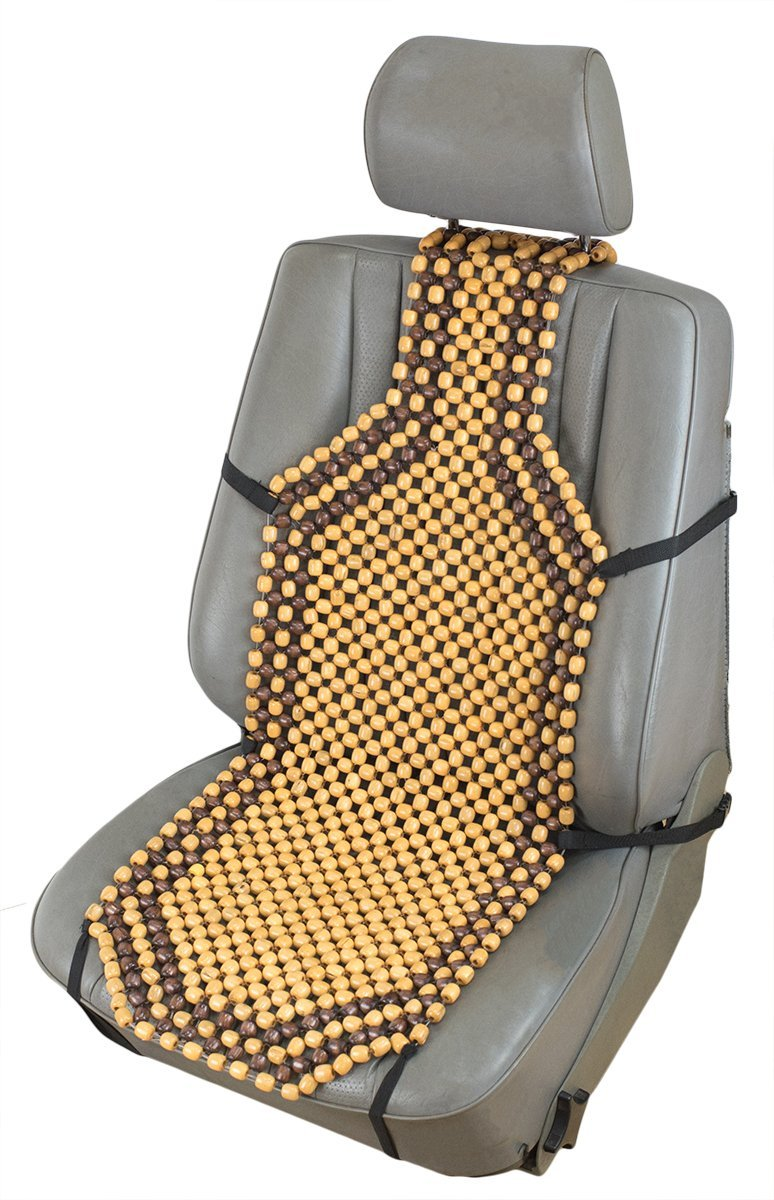 EXCEL LIFE Natural Wood Beaded Seat Cover Massaging Cool Cushion for Car Truck Makes Driving More Bearable And Less Painful On Long Trips Keeps The Back From Getting Sweaty While Driving