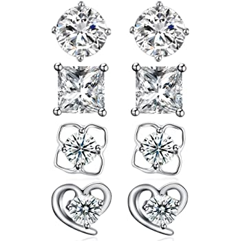 Ashley Jeweller 925 Sterling Silver Bezel Martini-Set AAA Cubic Zirconia Solitaire Earrings