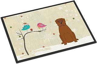 BIRSY Christmas Presents Between Friends Dogue De Bourdeaux Indoor Or Outdoor Mat 24x36 BB2545JMAT Multicolor 20x32(IN)