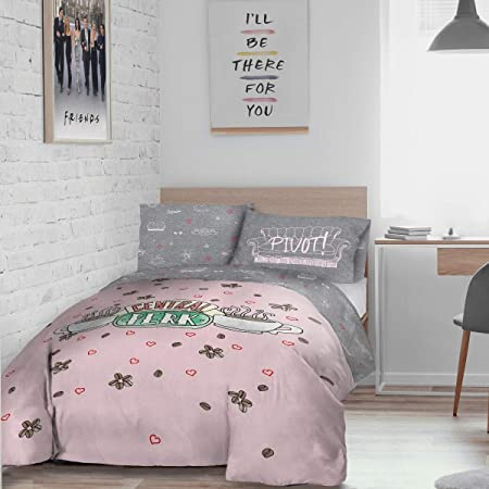Warner Brothers Friends Central Perk Parure de lit réversible avec Housse de Couette et taie d'oreiller – King Size (230 x 220 cm), Polyester, Rose/Gris