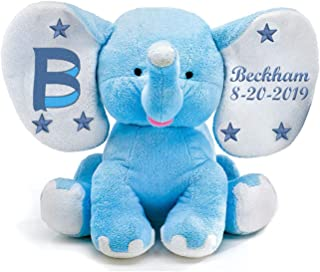 Plush Elephant Toy Stuffed Animals Baby Boy Keepsake Gifts Embroidered with Monogram, Baby's Name, Date of Birth or Customize with Your Personalized Message, Newborn Gifts