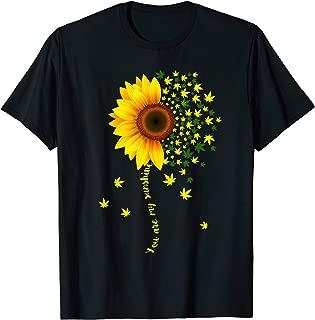 Sunflower Cannabis Weed Leaf Lover Marijuana Gift T-Shirt