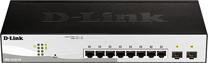 D-Link Systems 10-Port Gigabit Web Smart Switch including 2 Gigabit SFP Ports (DGS-1210-10)
