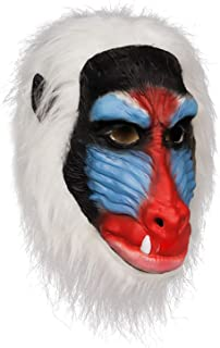 molezu Animal Mask, Latex Masks, Jungle Animals Chimp Monkey Head Rubber Mask White