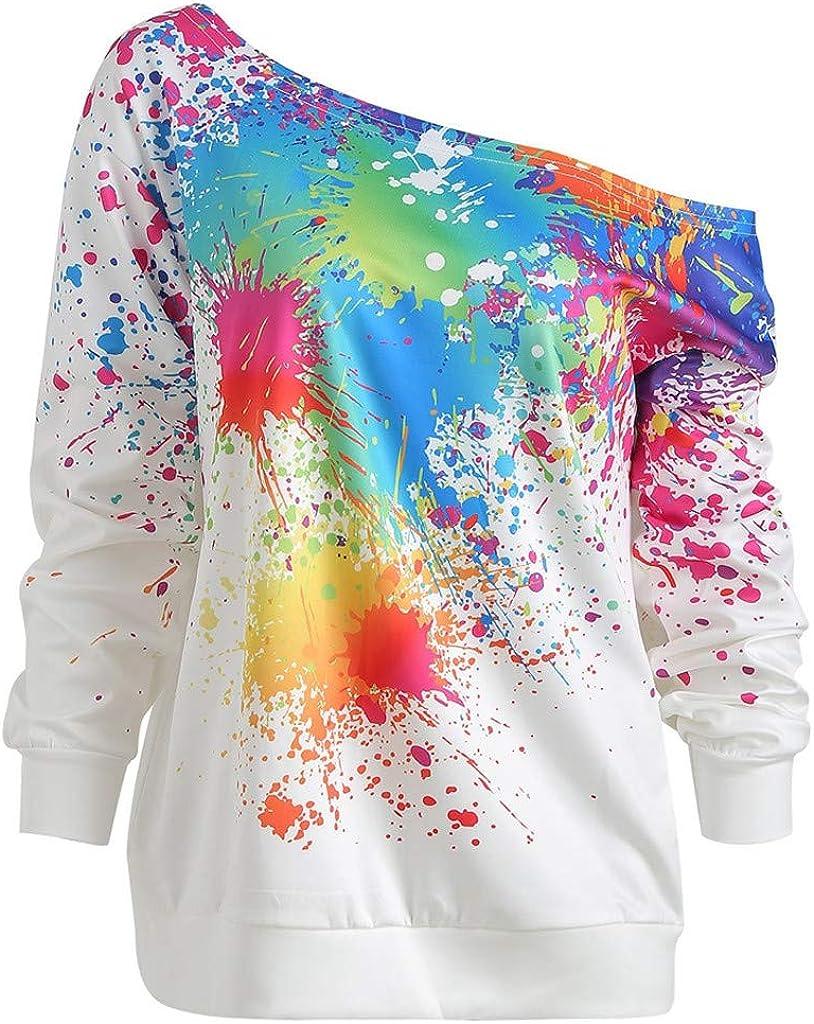 Paint Splatter Print Blouse for Women Fashion Casual Long Sleeve Skew Neck Sweatshirt Solid Color Tops