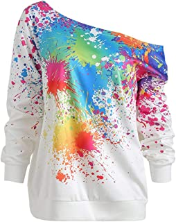 Sweatshirt,Toimoth Women Casual Loose Long Sleeve Rainbow Print Pullover Blouse Shirts