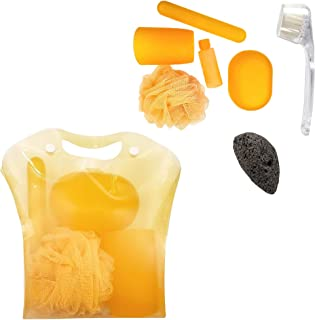 Rucci Bath Sets with Natural Volcano Pumice Stone/Facial Brush/Net Sponge/Soap Dish/Lotion Bottle/Toothbrush Case
