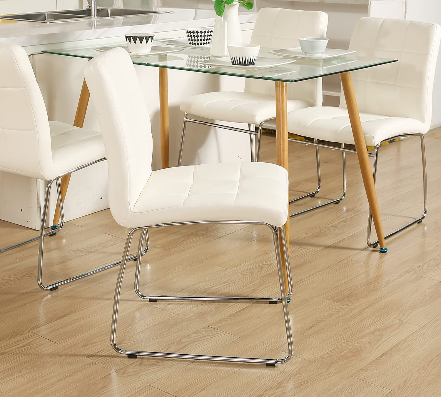 Glass Dining Table Set for 9,WISOICE Modern Rectangle Glass Table with 9 PU  Leather Side Chairs for Dining Room Living Room and Kitchen Table + 9 ...
