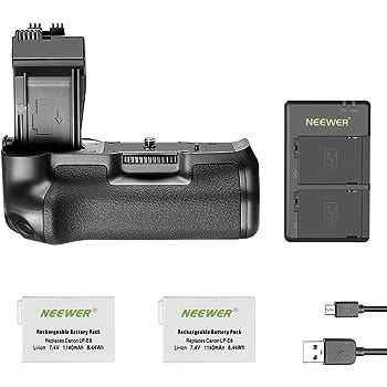 Neewer BG-E8 Reemplazo Empuñadura Batería para Canon Eos 550D 600D 650D 700D Rebel T2i T3i T4i T5i Cámaras DSLR, Viene con 2 Paquetes 1140 mAh LP-E8 Batería Iones de Litio Y Cargador de Batería Doble