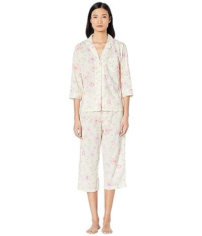 LAUREN Ralph Lauren Cotton Rayon Lawn Woven 3/4 Sleeve Pointed Notch Collar Capri Pants Pajama Set (Multi Floral) Women